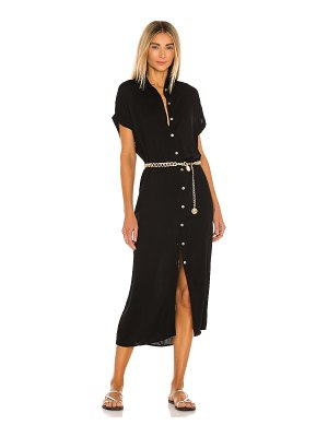 Indah delphina solid button up mid length shirt dress