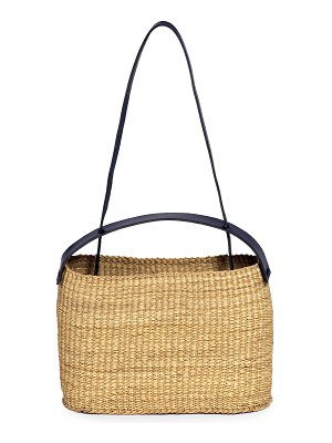 Inès Bressand dual-handle straw shoulder bag
