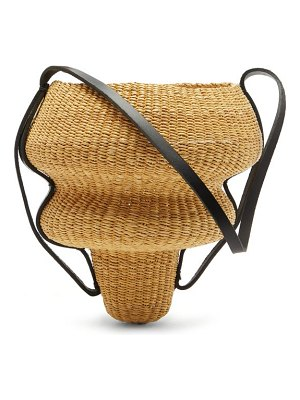 Ines Bressand n.8 large wave-shaped straw bucket bag