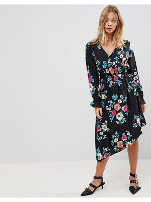 Influence asymmetric hem floral dress