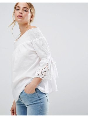 Influence bardot top with broderie sleeve detail