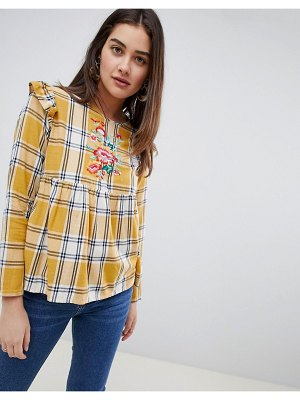 Influence checked embroidered top with frill detail