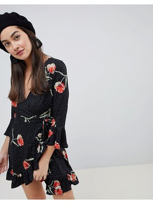 Influence floral and polka dot frill wrap dress