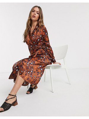 Influence satin belted midi dress in multi print-brown