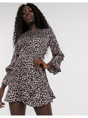 Influence satin skater dress in abstract leopard print-multi