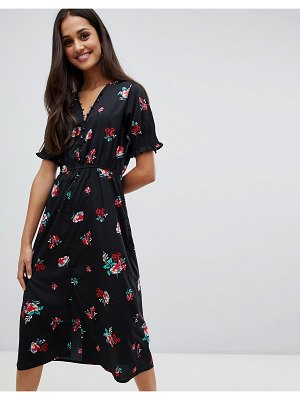 Influence shirred sleeve floral midi dress with button down front-black