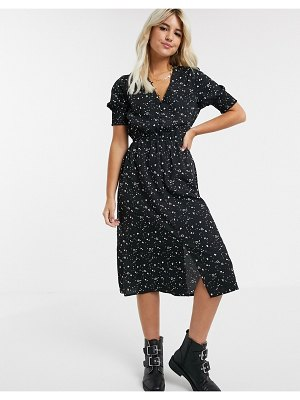 Influence shirred sleeve midi dress with button down front in mono heart print-black