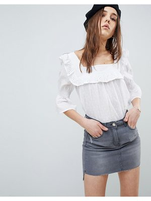 Influence square neck broderie top