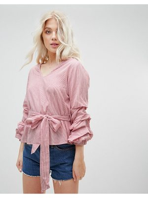 Influence Tie Waist Stripe Top With Balloon Sleeves