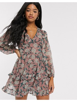 Influence tiered mini skater dress in pink floral print