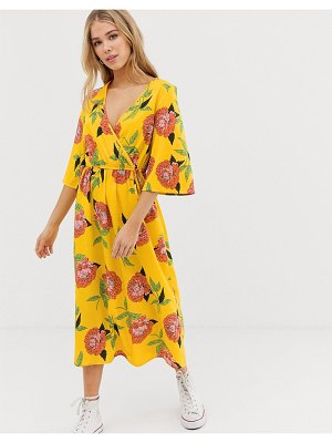 Influence wrap midi dress with flared sleeve in yellow floral