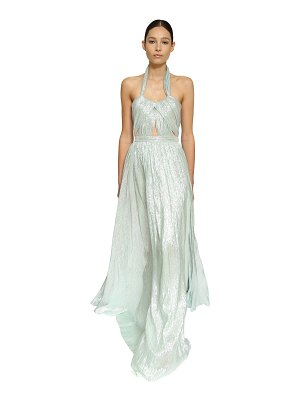 INGIE PARIS Halter neck silk long dress