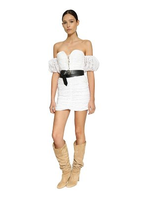 INGIE PARIS Off-the-shoulder eyelet lace mini dress