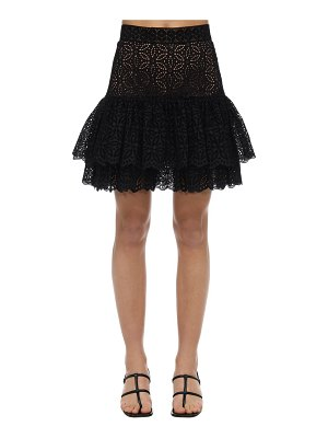 INGIE PARIS Ruffled eyelet lace mini skirt