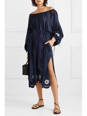 Innika Choo frida wailes off-the-shoulder belted embroidered cotton-voile dress