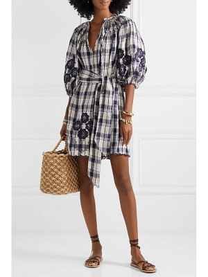 Innika Choo hans ufmafrök broderie anglaise-trimmed checked linen mini dress