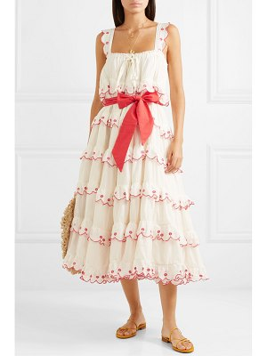 Innika Choo iva biigdres embroidered tiered cotton midi dress