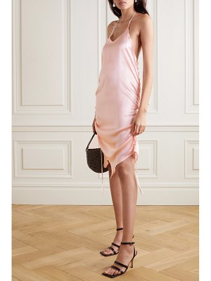 Ioannes asymmetric ruched silk-blend satin halterneck mini dress