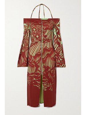 Ioannes romeo printed recycled stretch-jersey halterneck dress