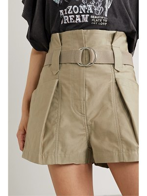 IRO bordina belted pleated cotton-twill shorts
