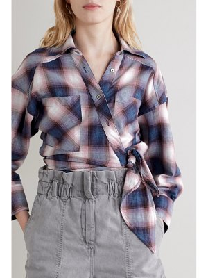 IRO camde checked cotton-flannel wrap shirt