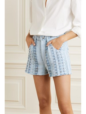 IRO frayed textured cotton-blend shorts