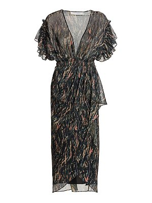 IRO gargas metallic print faux wrap midi sheath dress
