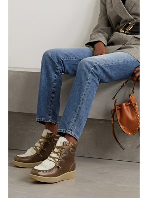 Isabel Marant alpica shearling-trimmed leather ankle boots