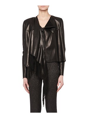 Isabel Marant Asymmetric Fringe Lamb Leather Jacket