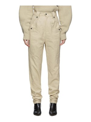 Isabel Marant beige tapered yerris trousers