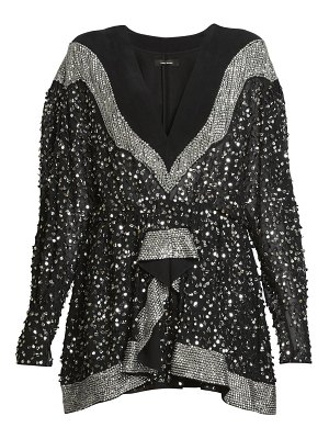 Isabel Marant caldes embellished chiffon long-sleeve mini dress