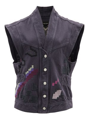 Isabel Marant erilane embroidered denim sleeveless jacket