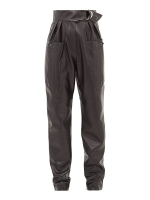 Isabel Marant ferris high rise belted leather cargo trousers