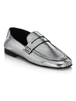Isabel Marant fezzy driver crackled leather loafers