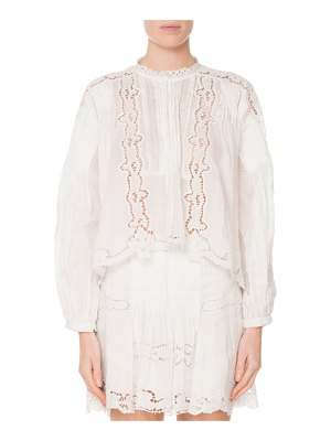 Isabel Marant Long-Sleeve Button-Front Eyelet Top