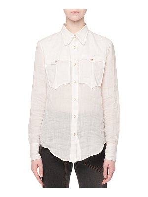 Isabel Marant Naria Button-Front Long-Sleeve Ramie Western Shirt