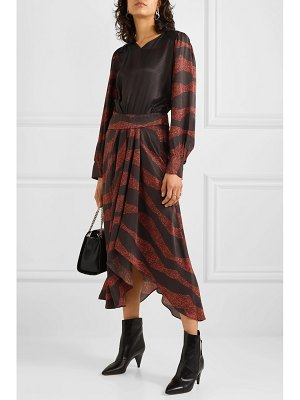 Isabel Marant romina asymmetric printed satin-jacquard midi dress