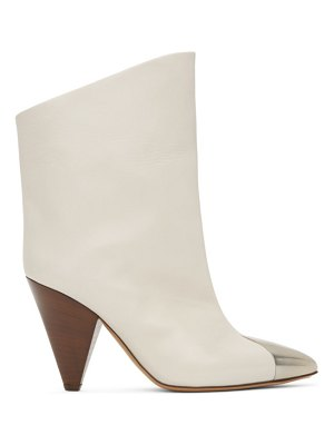 Isabel Marant white leather lapee boots