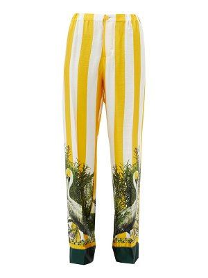 Issimo X F.R.S. For Restless Sleepers etere striped pelican-print silk-twill trousers