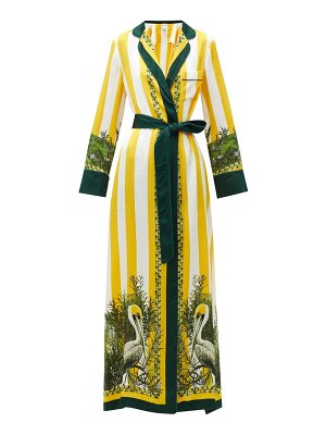 Issimo X F.R.S. For Restless Sleepers roda striped pelican-print belted silk maxi dress
