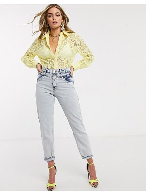 Ivyrevel oversized balloon sleeve lace blouse in yellow