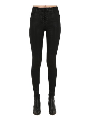 J Brand Lace-up skinny coated denim jeans