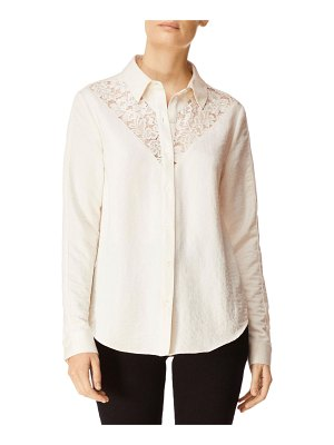J Brand Lula Button-Front Long-Sleeve Lace Inset Shirt