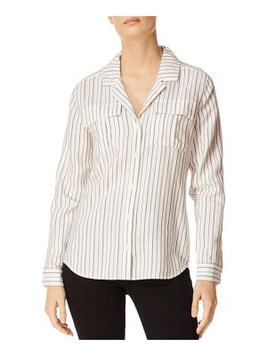 J Brand Peyton Striped Button-Down Utility Shirt w/ Lace-Up Back