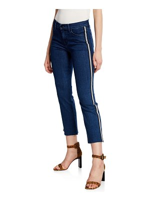 J Brand Selena Mid-Rise Cropped Boot-Cut Jeans w/ Side Stripes
