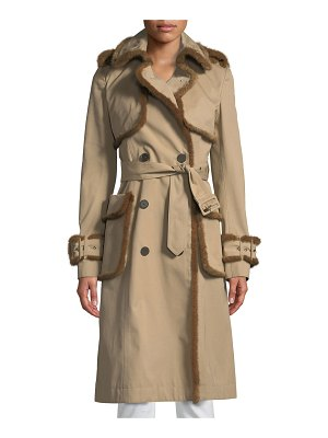 J. Mendel Mink-Trimmed Double-Breasted Trench Coat