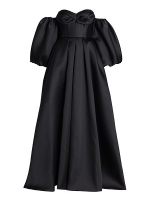 J. Mendel off-the-shoulder balloon-sleeve silk ball gown