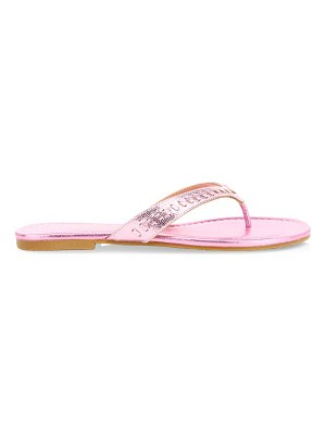 Jack Rogers collins metallic leather braid thong flip flops