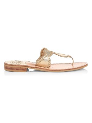 Jack Rogers jackie flat whipstitch metallic leather thong sandals