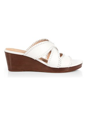 Jack Rogers jackie whipstitch leather wedge mules